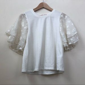 Anthropologie Eri + Ali Flutter Sleeve Top